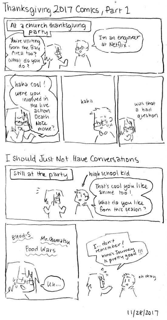 Thanksgiving 2017 Comics, Part 1